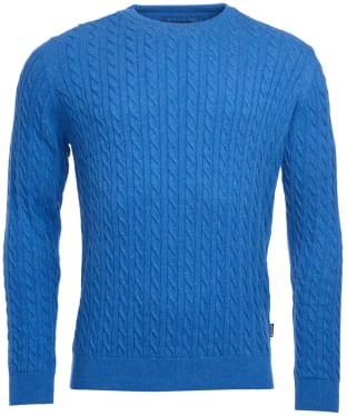 Men's Barbour Fowey Cable Crew Neck Sweater - Mid Blue Marl