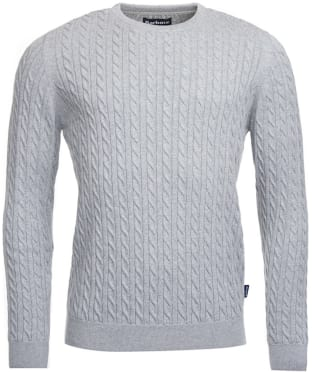 Men's Barbour Fowey Cable Crew Neck Sweater - Light Grey Marl