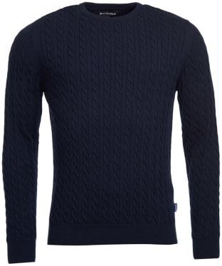 Men's Barbour Fowey Cable Crew Neck Sweater - Navy