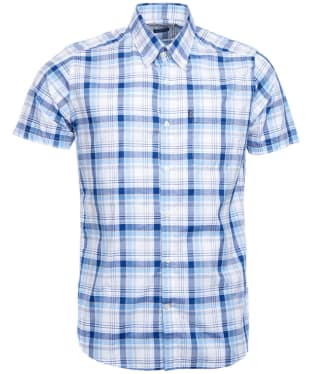 Men's Barbour Madras 3 S/S Tailored Shirt - Blue Check