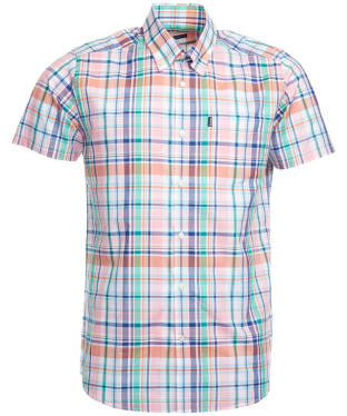 Men's Barbour Gerald Short Sleeved Check Shirt - Pink Check