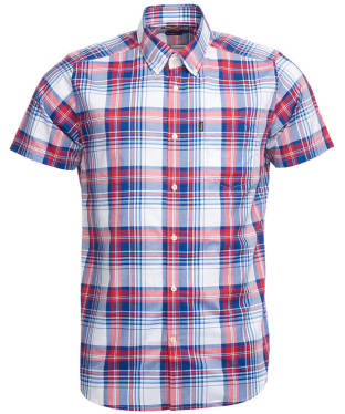 Men's Barbour Madras 3 S/S Tailored Shirt - Red Check