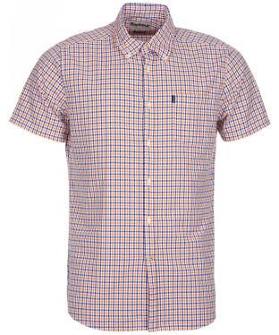 Men's Barbour Newton Short Sleeved Tailored Fit Shirt - Orange
