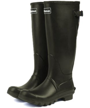Women's Barbour Jarrow Back Adjustable Wellingtons - Dark Olive