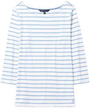 Women's Crew Clothing Essential Breton Top - White Linen / Bluebell