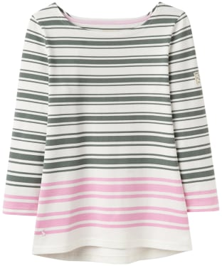 Women's Joules Harbour Block Printed Top - Laurel Pink Stripe