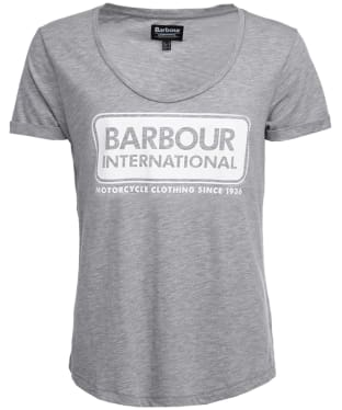 Women's Barbour International Track Tee - Light Grey Marl