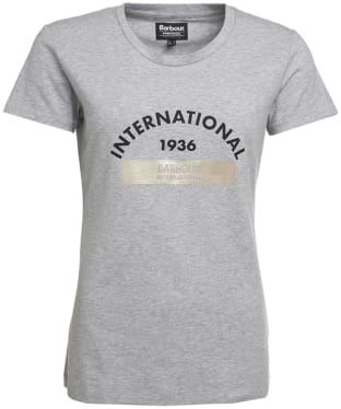 Women's Barbour International Scrambling Tee - Light Grey Marl