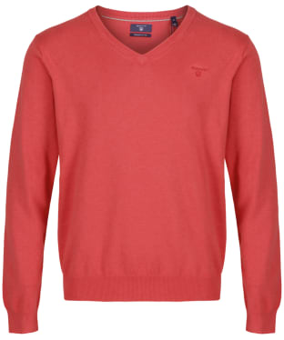 Men's GANT Lightweight Cotton V-Neck - Chrysantemum Red Melange