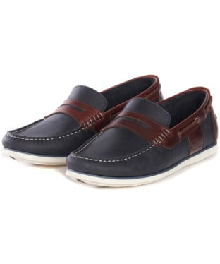 Men's Barbour Keel Boat Shoes - Navy / Brown