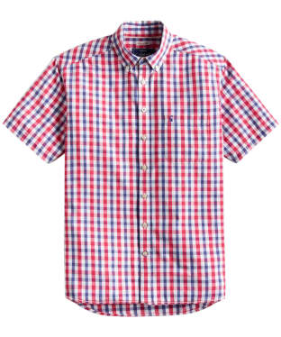 Men's Joules Short Sleeve Wilson Classic Fit Shirt - Navy / Pink Gingham