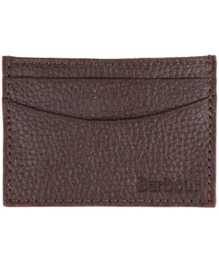 Men's Barbour Grain Leather Card Holder - Dark Brown