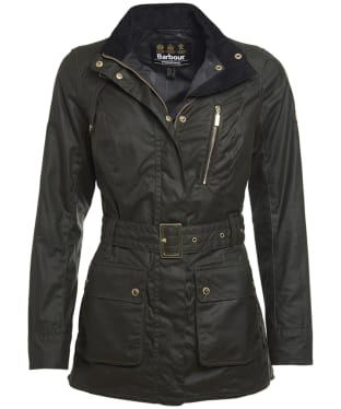 Women's Barbour International Brake Wax Jacket - Fern