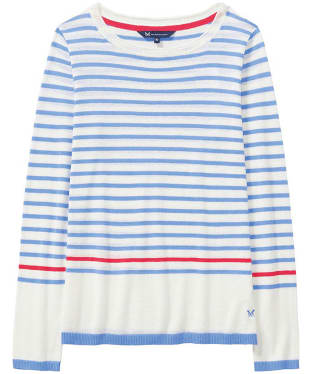 Women's Crew Clothing Holbeton Jumper - Blue Bell / White Linen