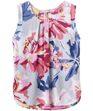 Women's Joules Alyse Printed Cap Sleeve Top - Silver Whitstable Floral