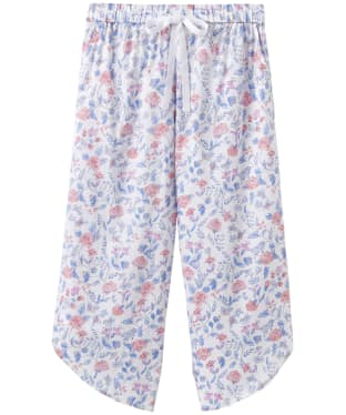 Women's Joules Florrie Woven Culotte Pyjama Bottoms - White Sea Air Ditsy