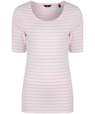 Women's GANT Striped Rib T-Shirt - Shadow Rose