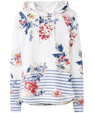 Women's Joules Marlston Print Semi-Fitted Sweatshirt - White Stripe Whitstable Floral