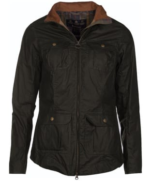 Women's Barbour Lightweight Filey Wax Jacket - Dark Olive