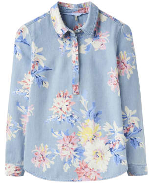 Women's Joules Clovelly Pop Over Deck Shirt - Chambray Whitstable Floral