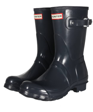 Women's Hunter Original Short Gloss Wellington Boots - Dark Slate