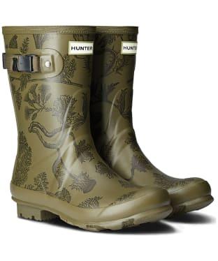 Women's Hunter Norris Field Printed Short Wellington Boots - Moor Green