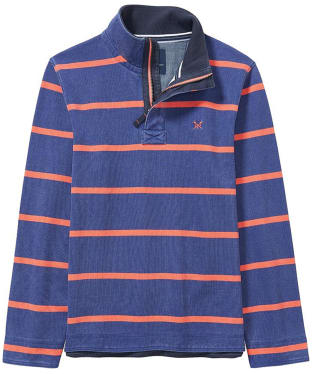 Men's Crew Clothing Padstow Pique Half Zip Sweater - Bright Navy / Papaya