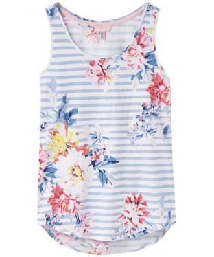 Women's Joules Bo Printed Vest - White Stripe Whitstable Floral