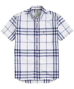 Men's Joules Short Sleeve Wilson Classic Fit Shirt - Blue Overcheck