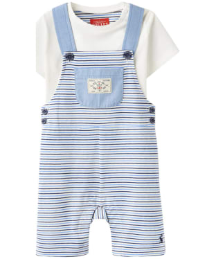 Boy's Joules Baby Duncan Dungaree Set, 3-9m - Whitby Blue Stripe