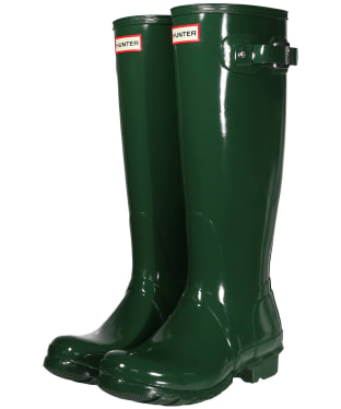 Women's Hunter Original Tall Gloss Wellington Boots - Hunter Green
