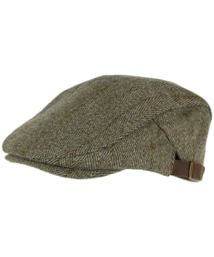 Heather Graywood Adjustable Derby Tweed Cap - Dark Green / Gold Stripe