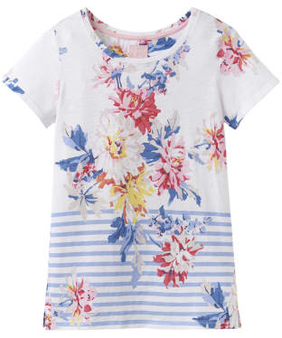 Women's Joules Nessa Print Jersey T-Shirt - White Stripe Whitstable Floral
