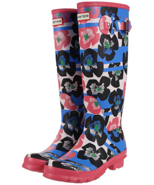 Women's Hunter Original Floral Stripe Tall Wellingtons - Floral Stripe / Peony