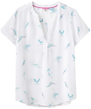 Women's Joules Iona Short Sleeve Blouse - Bright White Parakeets