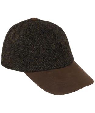 Heather Glencairn Harris Tweed Leather Peak Baseball Cap - Brown Barleycorn