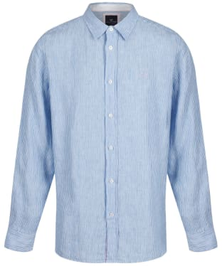 Men's Crew Clothing Linen Classic Shirt - Sky / White