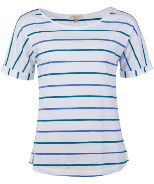 Women's Barbour Marloes Top - White / Nautical Blue / Seaglass