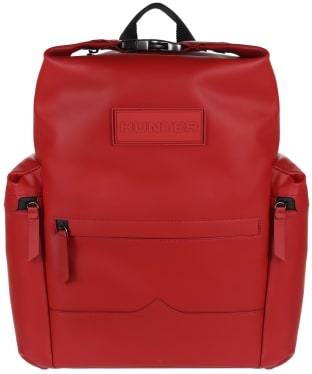 Hunter Original Large Top Clip Backpack - Rubberised Leather - Military Red