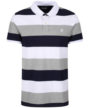 Men's Timberland Millers River Pique Wide Stripe Polo Shirt - White