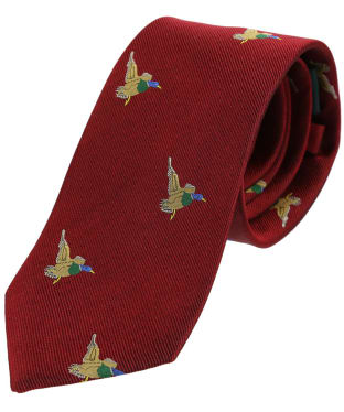 Men's Soprano Green Flying Ducks Tie - Red