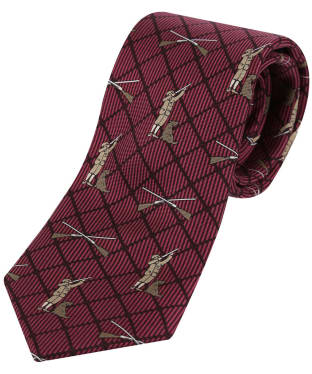 Men's Soprano Hunter and Labrador Checked Tie - Wine