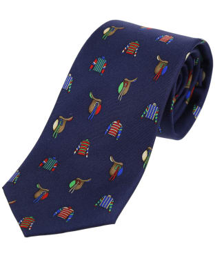 Men's Soprano Racing Colours and Saddles Tie - Navy