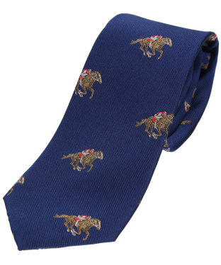 Men's Soprano Jockeys and Horses Silk Tie - Blue