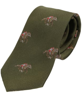 Men's Soprano Jockeys and Horses Silk Tie - Green