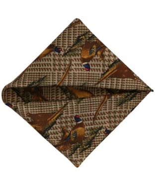 Men's Soprano Standing Pheasant Silk Pocket Square - Tweed