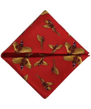 Men's Soprano Flying Pheasant Silk Pocket Square - Red