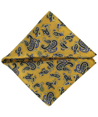 Men's Soprano Paisley Silk Pocket Square - Mustard