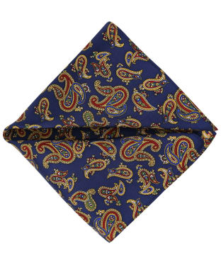 Men's Soprano Paisley Silk Pocket Square - Navy
