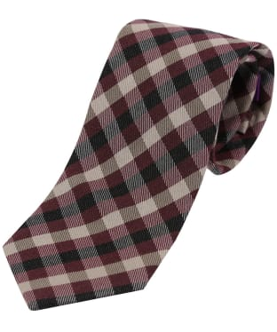 Men's Soprano Checked Wool Tie - Wine / Ivory / Black